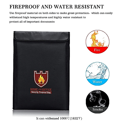 031458b13723 Black Fireproof Document Safe Bag, Fire & Water Resistant Safe Pouch with  Zipper Enclosure