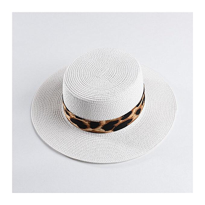 144c72078 summer flat top straw hat new Leopard Print paper straw sun hat fashion  summer wide brim beach hat(White)
