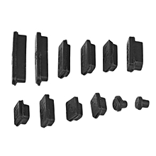 HP-12pcs/set Silicone Anti-Dust Plug Cover Stopper Laptop USB Dust Plug Cover black