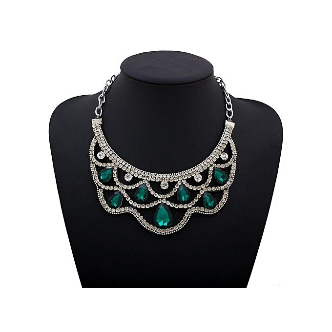Fashion Silver Jewelry Statement Necklaces Flower Green Diamond Necklace  Collar Choker Necklace In Pendant Necklace For 9e6fdae0c1