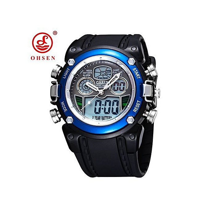 330d59a0aec New OHSEN Waterproof Diver Military Wristwatch Mens Dual Time Sport Watch  Alarm Date Week Chronograph Relogio