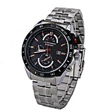 Quartz Men's Chronograph & Casual Watches -8148- Silver Strap, Black Dial