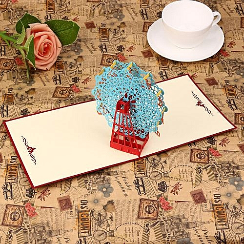 Generic Houseworkhu 3D Pop Up Cards Valentine Lover Happy Birthday Anniversary Greeting Blue