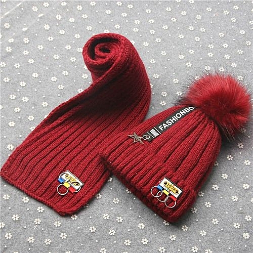 7f95226a Eissely Baby Boys Girls Winter Warm Letter Hat Children Knitting Ball Hats  Scarf Sets