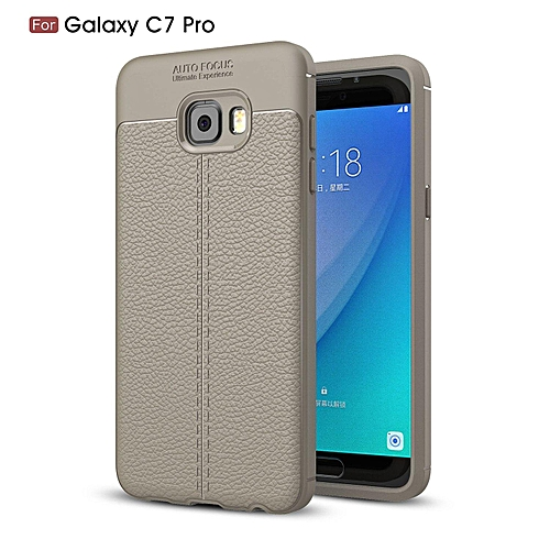 low cost 3e182 34b32 PU Leather Litchi Pattern Case For Samsung Galaxy C7 Pro C7010 Soft TPU  Silicone Back Cover For Samsung C7 Pro Case Cover (Grey)