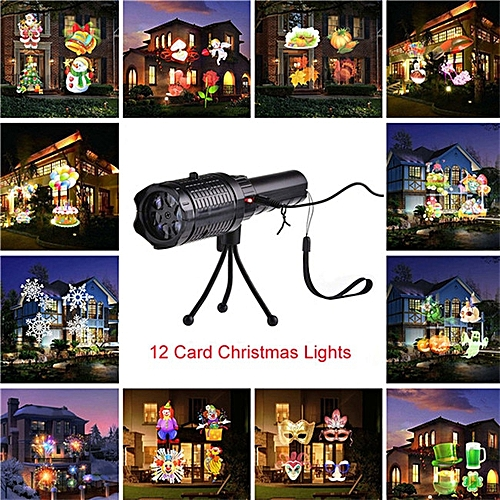 12 Patterns LED Christmas Snowflake Projector Outdoor Stage Light  Waterproof Disco Lights Home Garden Star Light Indoor Decor ASQOB