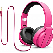 ENCORE- Pink On Ear Wired Headset With Cushioned Foldable Headband & ABS ear cups