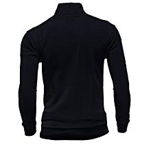 Men's Autumn Winter Leisure Sports Cardigan Zipper Sweatshirts Tops Jacket Coat - Black