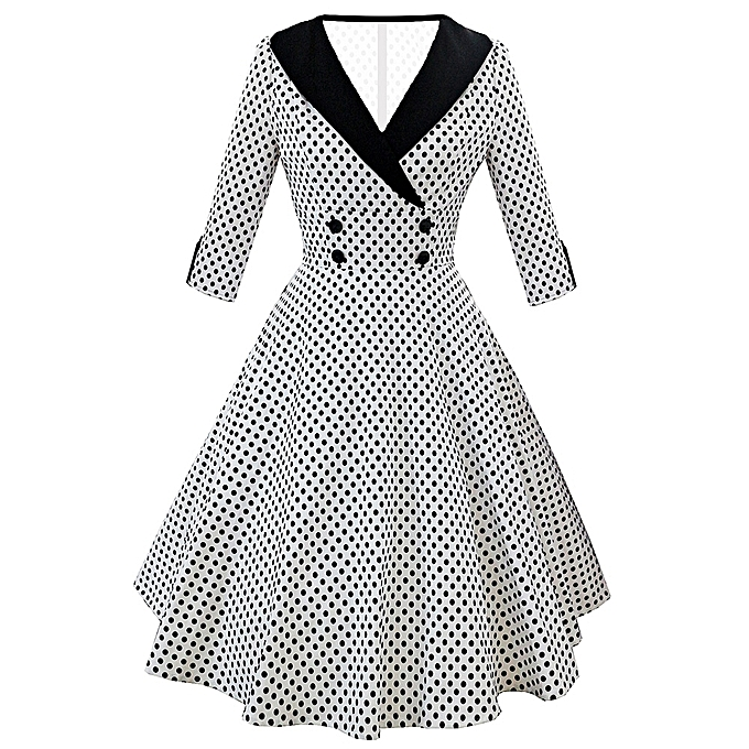 Buy Generic Fashion Leadsmart Vintage Shawl Collar Dotted Pin Up ...
