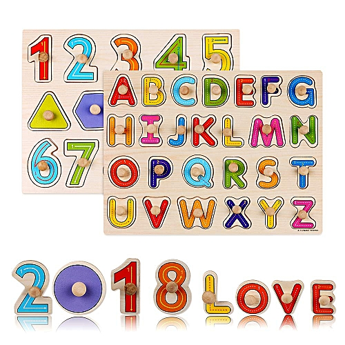 Honey Wooden 26 Abc Alphabet English Letters Learning Matching Puzzles Color Shape Cognition Toy For Baby Early Learning Home