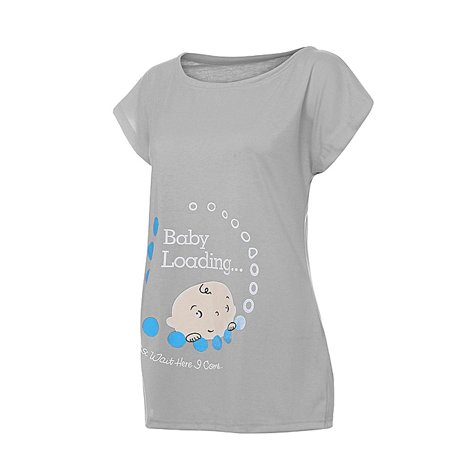 450d564d ... Women Pregnant Cute Baby Printed Plus Size Funny T-Shirt Maternity Lady  Tops ...