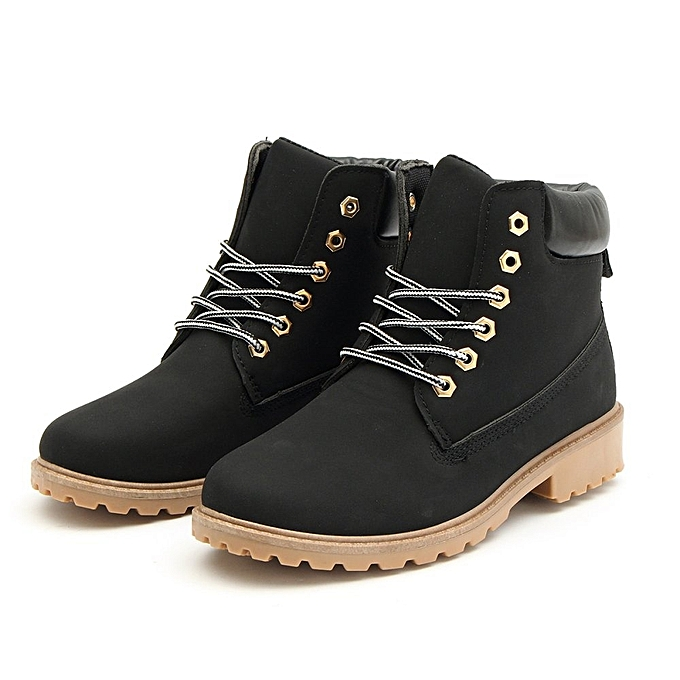48974270d86 Fashion New Work Boots Women's Winter Leather Boot Lace Up Outdoor ...