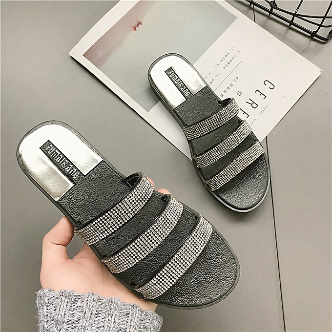 e10c10c2950 Generic Women Fashion Jewelry Metallic crystal home Flip-flop Sandals Woman  Flip Plus Size 36