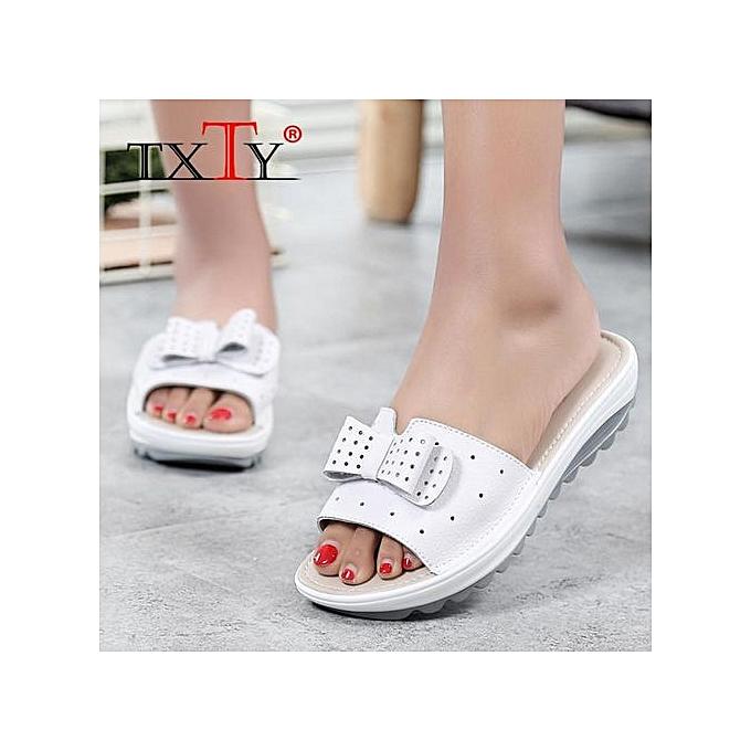 96d43da32 Women Sandals Shoes Leather Flat Sandals Low Heel Wedges Summer Women Open  Toe Platform Sandalias Ladies