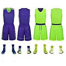 Double Side Customized Breathable Men's Basketball Team Sports Jersey Uniform-Blue Green(6308)
