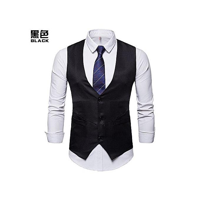 e3b6298d05f25a Fashion Men Vest Men Suit Vest Solid Color Single Breaste Casual Vest Men  Formal Business Wedding