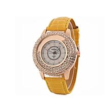 Woman PU Leather Quicksand Rhinestone Quartz Watch Bracelet Watches Ladies Wristwatch- Yellow