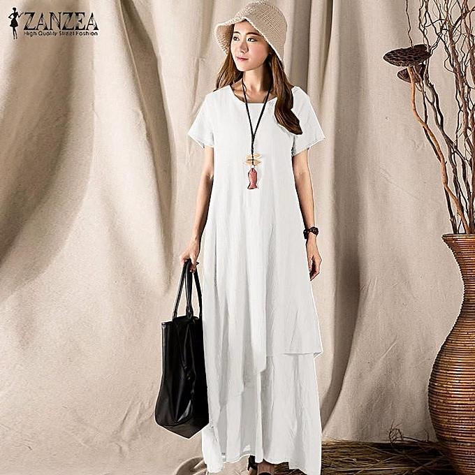 8654cd50537 ZANZEA Women Round Neck Short Sleeve Casual Solid Evening Party Long Maxi  Dress Kaftan (Off