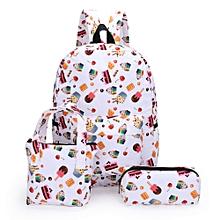 Xiuxingzi 3Pcs Fashion Girl Student Pattern Canvas School Backpacks+Hand Bag+Pen Bag