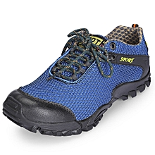 Casual Round Toe Lace-up Mesh Flat Heel Non-slip Breathable Sneakers Men Outdoor Shoes-BLUE
