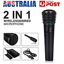 2in1 Wireless Wired Microphone Mic Receiver Studio System Pr Karaoke Party