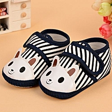 Refined Soft Antiskid Indoor Baby Boy Shoes 0-1 Year Old Printing Animal Shoes Baby Girl Shoes-Navy Blue