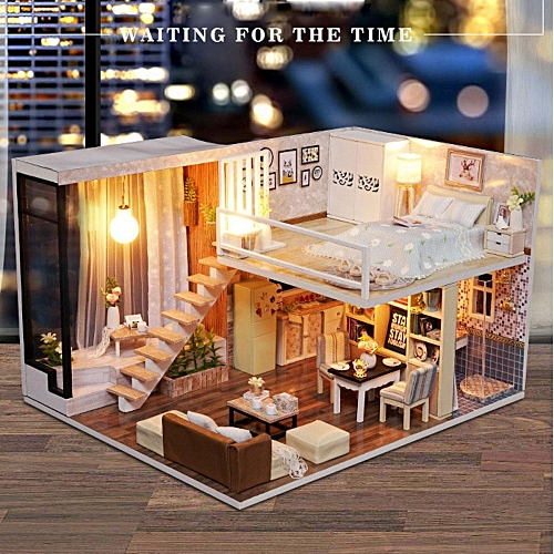 Universal Diy Doll House Toy Wooden Miniature Furniture Led Light