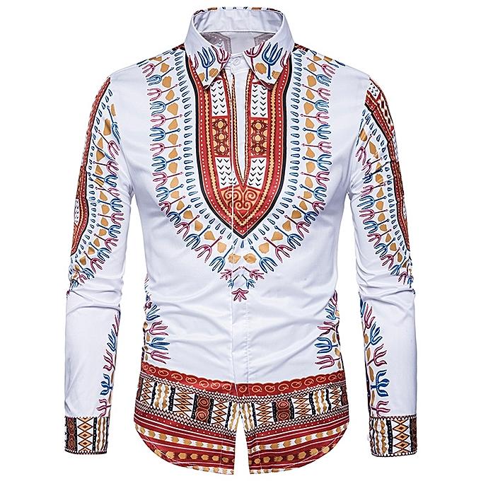 43cc31025fe09 Fashion Ethnic Style Geometric Print Long Sleeve Shirt - WINE RED ...