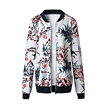 husksp Womens Ladies Retro Floral Zipper Up Bomber Jacket Casual Coat Outwear