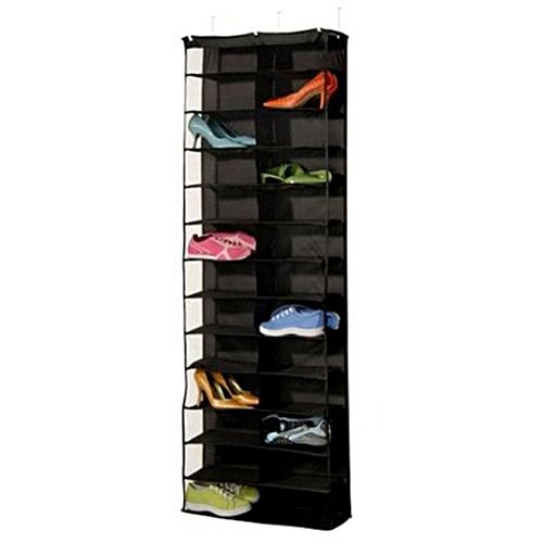 26 Pair Over Door Hanging Shoe Rack Shelf Storage Stand Organiser Pocket Holder Black