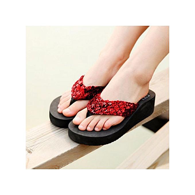 f645221a304 Summer Women Wedge Sandals Sequin Thong Flip Flops Platform Casual Slippers  ...