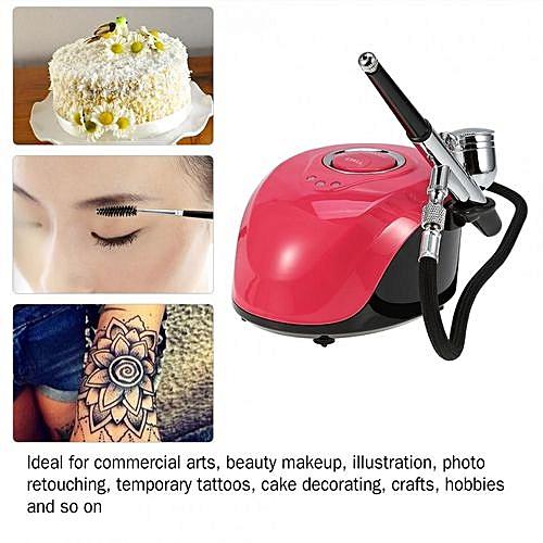 Air Compressor Tattoo Makeup Nail Painting Spray Art Gun Kit Mini  Adjustable Paint Tool Pink