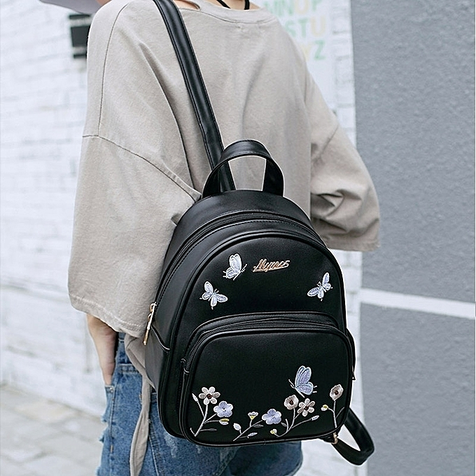 Black2018 new style of lovely small delightfully fresh and floral backpack  female the schoolbag vogue s shoulder a8bc976361077