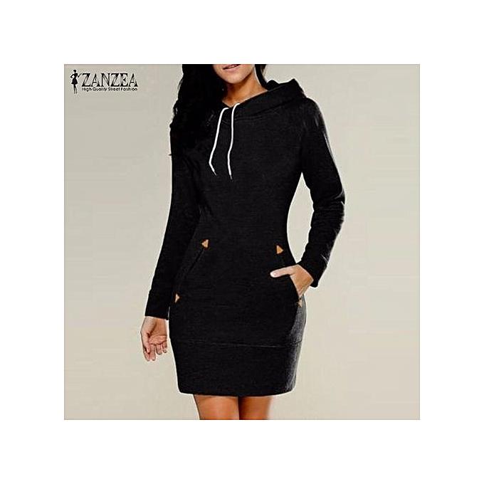 24ea6661b ZANZEA Women Autumn Winte R Dress Sweatshirt Dress Casual Slim Pullovers  Long Sleeve Mini Dresses Hooded