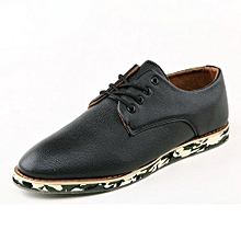 Mens Lace-Up Leather Shoes With Camo Outsole-Black