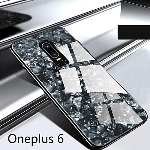 buy online 018ca c62ee For Oneplus 6 Luxury Hard Tempered Glass Case Marble Shell Pattern Design  Glass Back Cover For Oneplus6 Housing 453018 (Black)