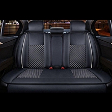 4pcs PU Leather Needlework Car Seat Covers Rear Cushion Cover For 5 Seat Car