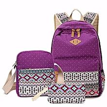 Women Girls Canvas Shoulder School Bag Backpack Wallet Satchel Rucksack Handbag  Purple