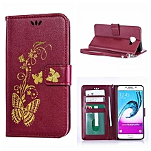 Mooncase Bronzing Butterfly PU Leather Case For Samsung Galaxy A7 (2016) Burgundy