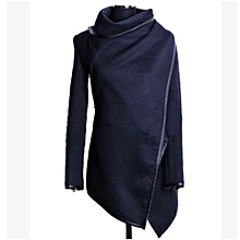 Nice (Asian Size) Women Female Long Jacket Warm Woolen Coat Blazer Zip Parka Windbreaker-Navy Blue