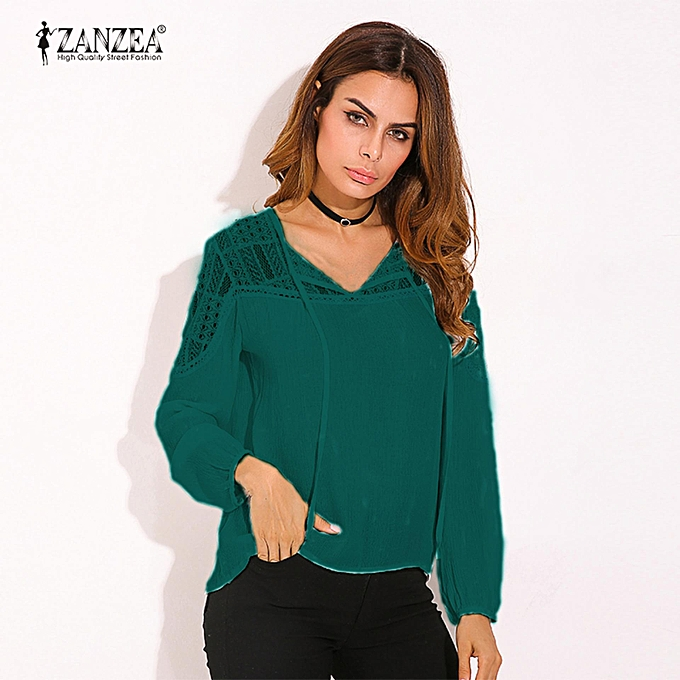 6af1552cdd6a5c ZANZEA Autumn Shirts Women Casual Loose Patchwork Lace Crochet Blouses V  Neck Long Sleeve Tee Tops