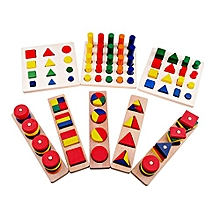 Montessori Materials Cylinder Educational Toy Block Wood Teaching Aids Geometry Shape Baby Learning Portfolio Combination, Pack of 8pcs
