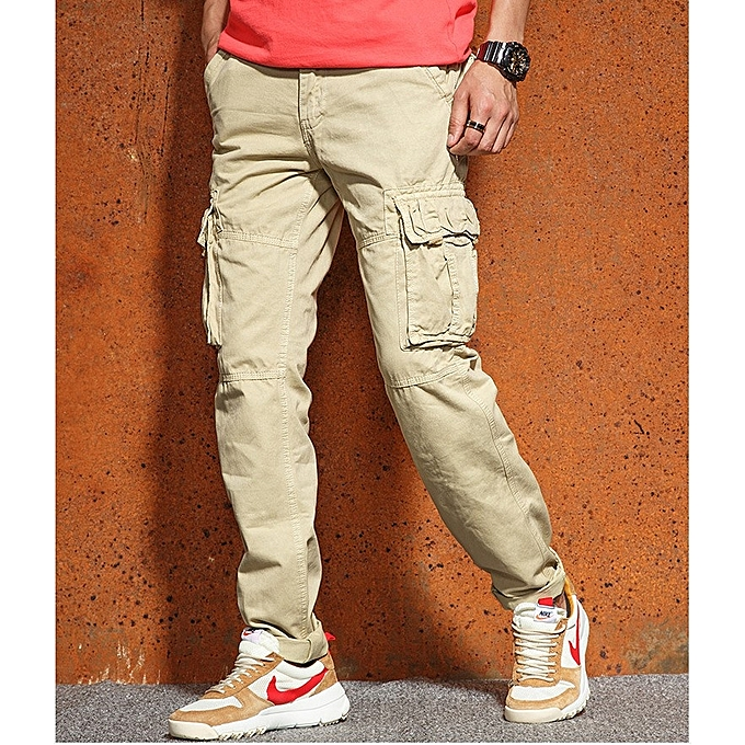 Fashion Men S Cargo Trousers Cotton Casual Pant Straight Tooling