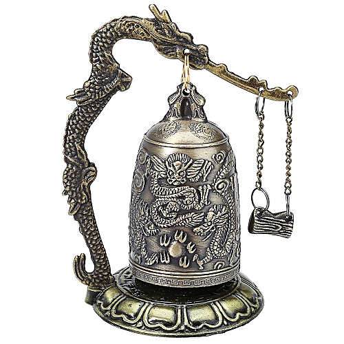 Exquisite Zinc Alloy Chinese Retro Design Bronze Lock Dragon Carved Buddhist Bell Geomantic Artware For Home Decoration