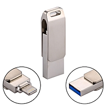 RQW-10G 2 in 1 USB 2.0 & 8 Pin 64GB Flash Drive, for iPhone & iPad & iPod & Most Android Smartphones & PC Computer