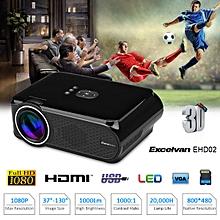 LED Multimedia Projector 800*480 Support 1080p EU - Black