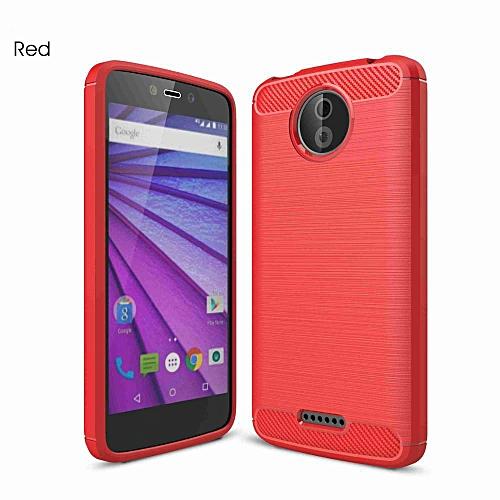 quality design 85c9f 54441 For Motorola Moto C Plus Soft Carbon Fiber Anti Knock Back Cover For Moto  CPlus (Red)