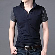 Mens Slim Fit Lapel T-shirt Short Sleeve Shirt Casual Tee Tops GY XXL- Gray
