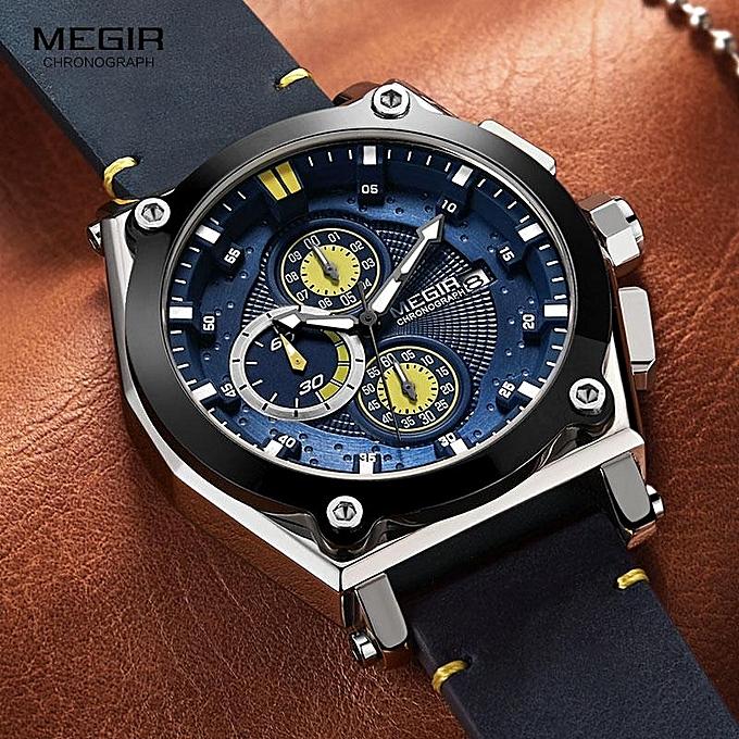 bc1c66907c2 ... Megir Men s Retro Quartz Watches Brown Leather Strap Relogio Masculino  Top Brand Luxury Chronograph Wristwatch 2098
