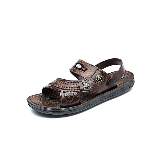 9b282b51b3d Refined Summer Mens Sandals Casual Breathable Leather Sandals Beach Shoes  Men Slippers Comfort Simple Sandals-